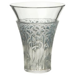 French Rene Lalique Art Deco Ibis Blue Tinted Glass Vase, 1934