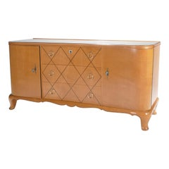 French René Prou Sycamore Mirrored Brass Sideboard Commode, 1950s