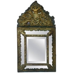 French Repousse Brass Parecloses Mirror, circa 1880