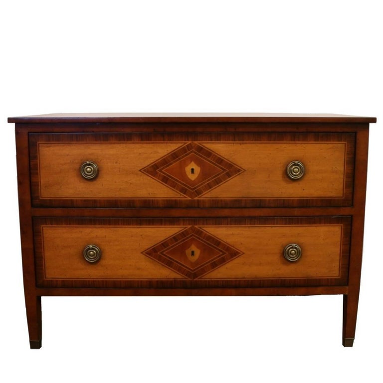 Two-Drawer French Chest Maple Inlaid with Rosewood and Brass Accents