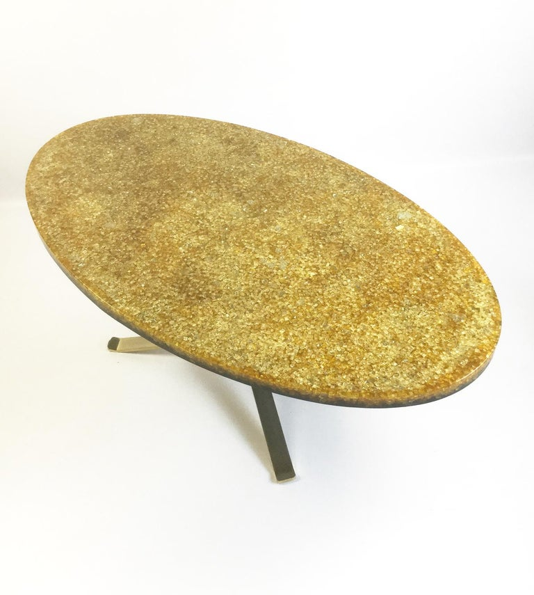 French Resin And Glass Ellipse Coffee Table By Pierre