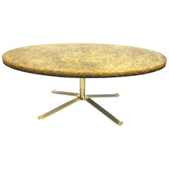 French Resin and Glass Ellipse Coffee Table by Pierre Giraudon, 1970s
