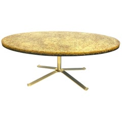 French Resin and Glass Gold Coffee Table by Pierre Giraudon, 1970s