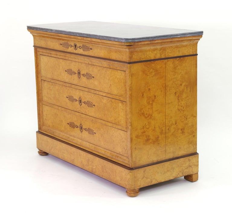 Charles X French Restauration Burr Ash Chest of Drawers, circa 1825 For Sale