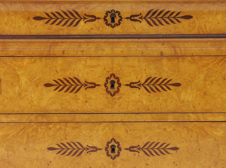 Marble French Restauration Burr Ash Chest of Drawers, circa 1825 For Sale