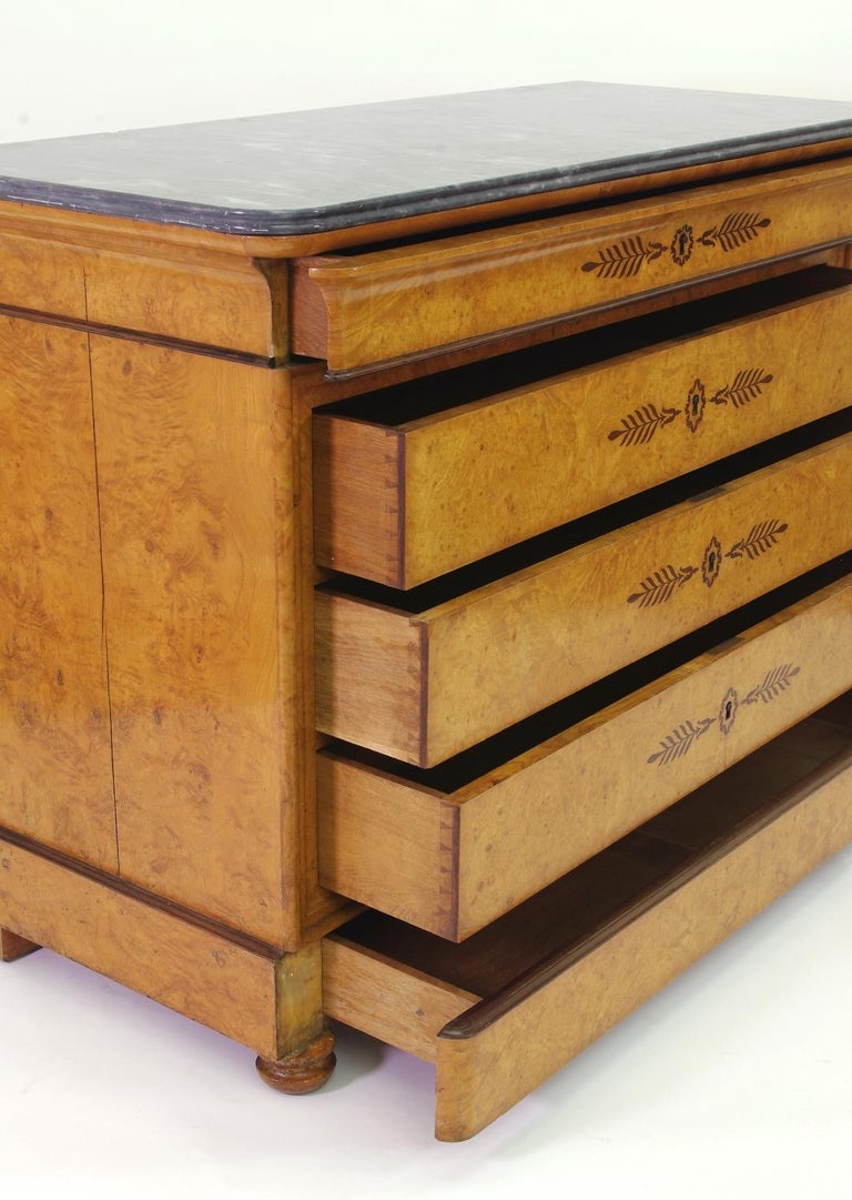 French Restauration Burr Ash Chest of Drawers, circa 1825 For Sale 2