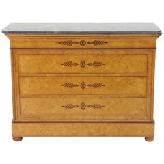 French Restauration Burr Ash Chest of Drawers, circa 1825