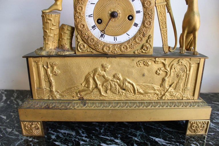 French Restauration Clock Allegory of Hunt For Sale 4