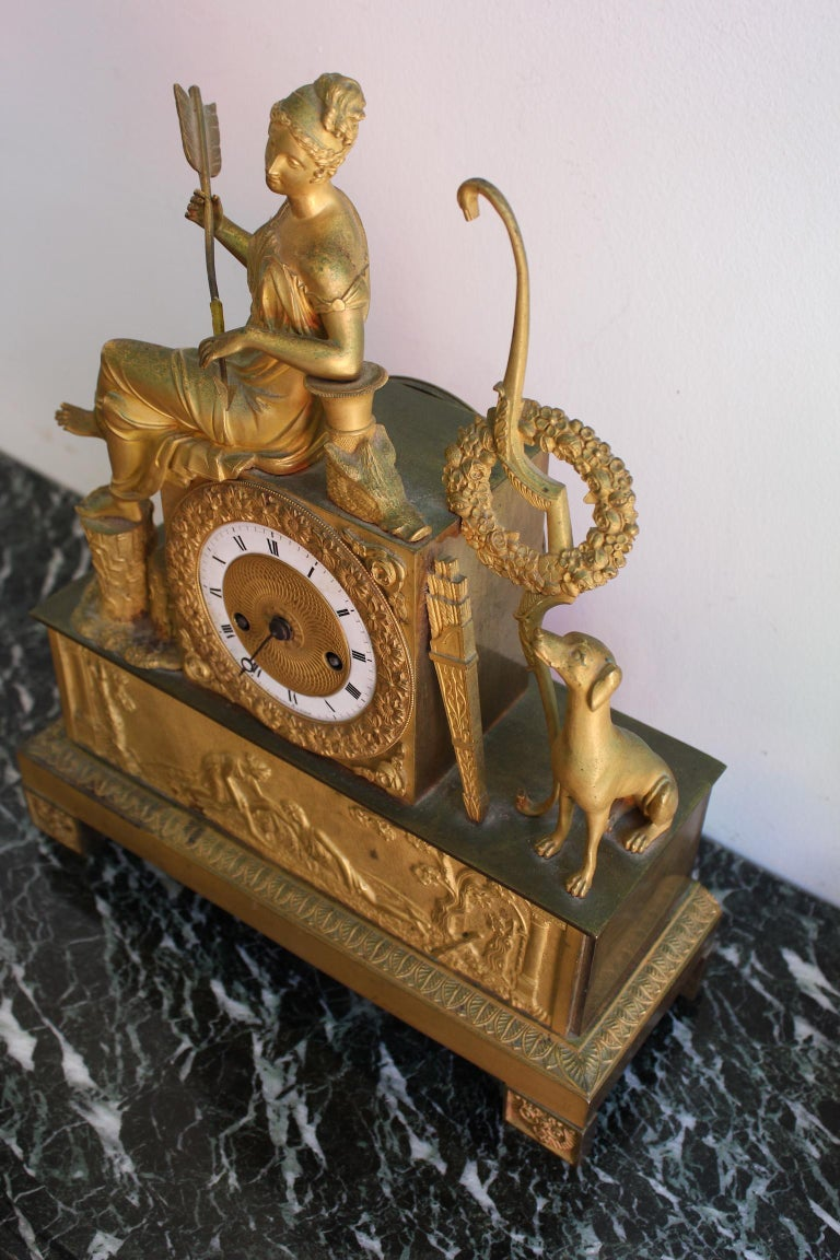 French Restauration Clock Allegory of Hunt For Sale 5