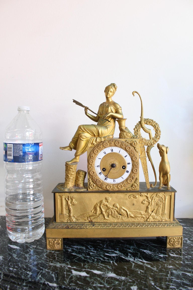 French Restauration Clock Allegory of Hunt For Sale 6