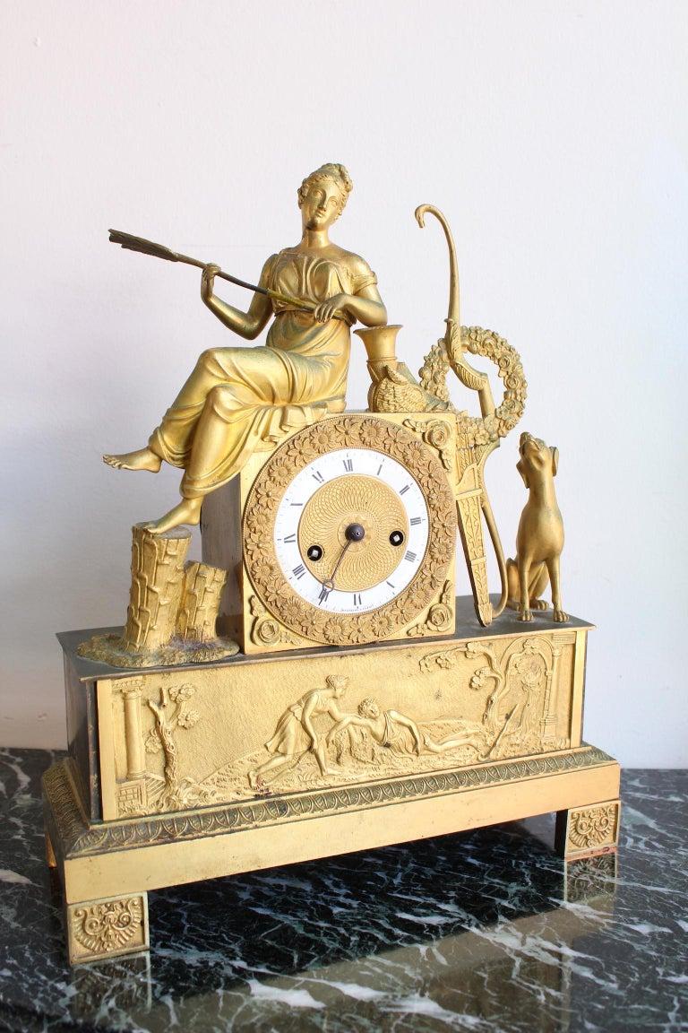 Gilt French Restauration Clock Allegory of Hunt For Sale