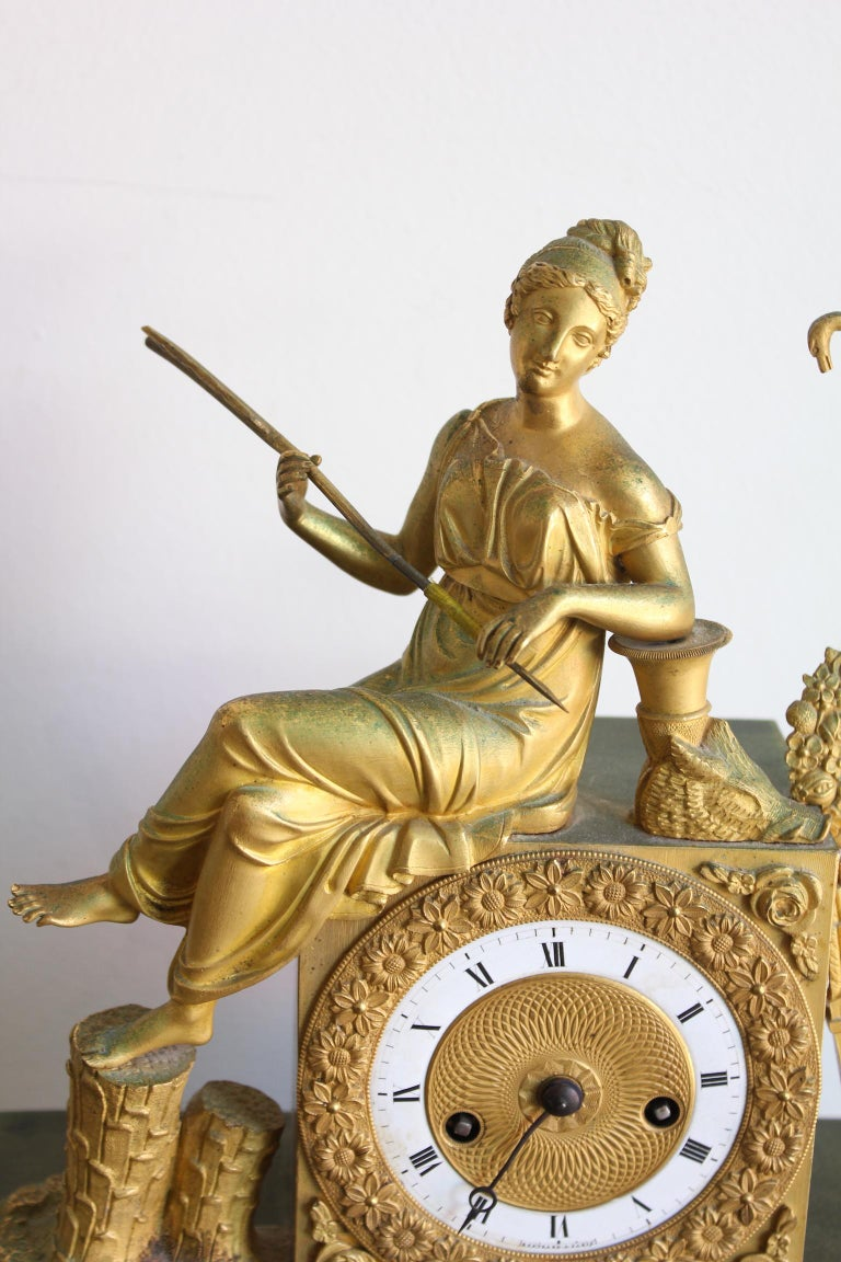 19th Century French Restauration Clock Allegory of Hunt For Sale