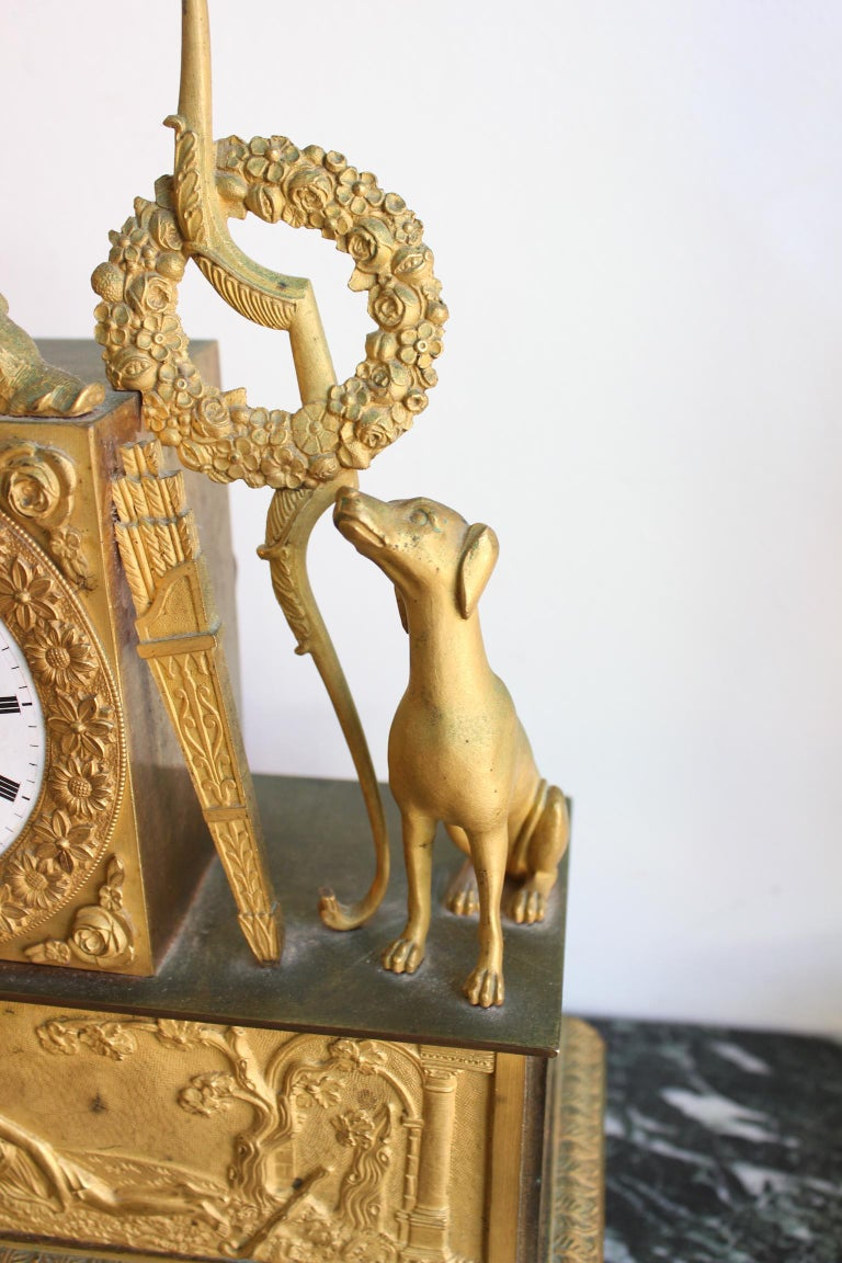 French Restauration Clock Allegory of Hunt For Sale 1