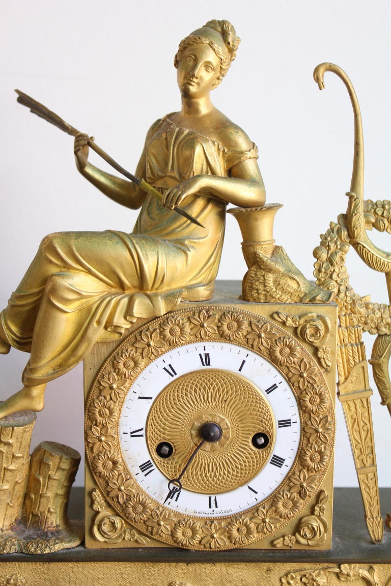 French Restauration Clock Allegory of Hunt For Sale 2