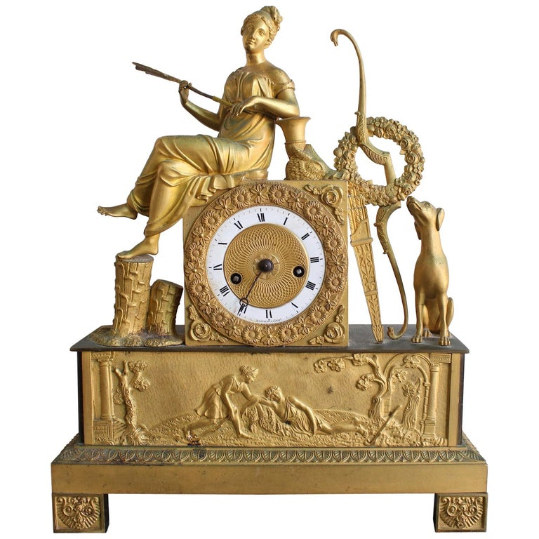 French Restauration Clock Allegory of Hunt For Sale