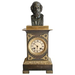 French Restauration Clock Decorated with Homer