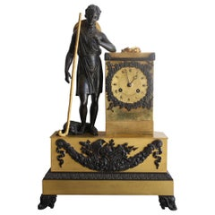 French Restauration Clock Depicting a Shepherd