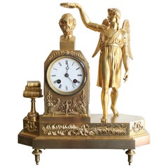 French Restauration Clock Tribute To Homer