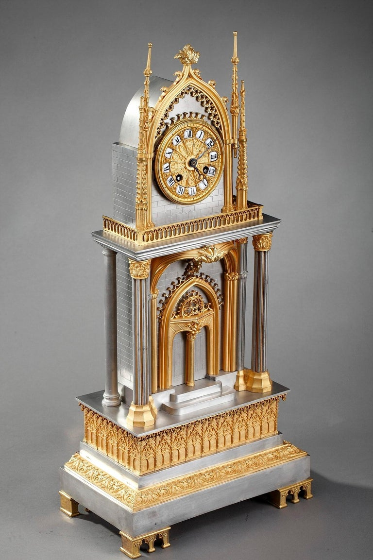 French Restauration Gilt and Silvered Bronze Neo-Gothic Cathedral Clock For Sale 7