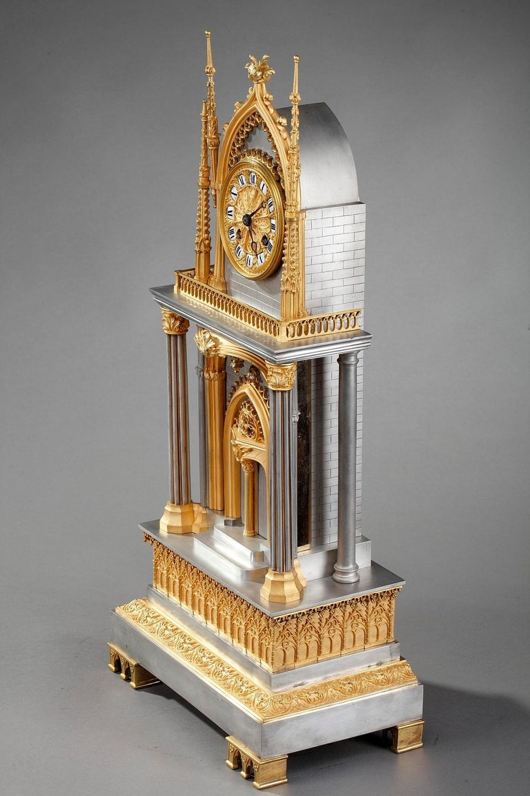 French Restauration Gilt and Silvered Bronze Neo-Gothic Cathedral Clock For Sale 3