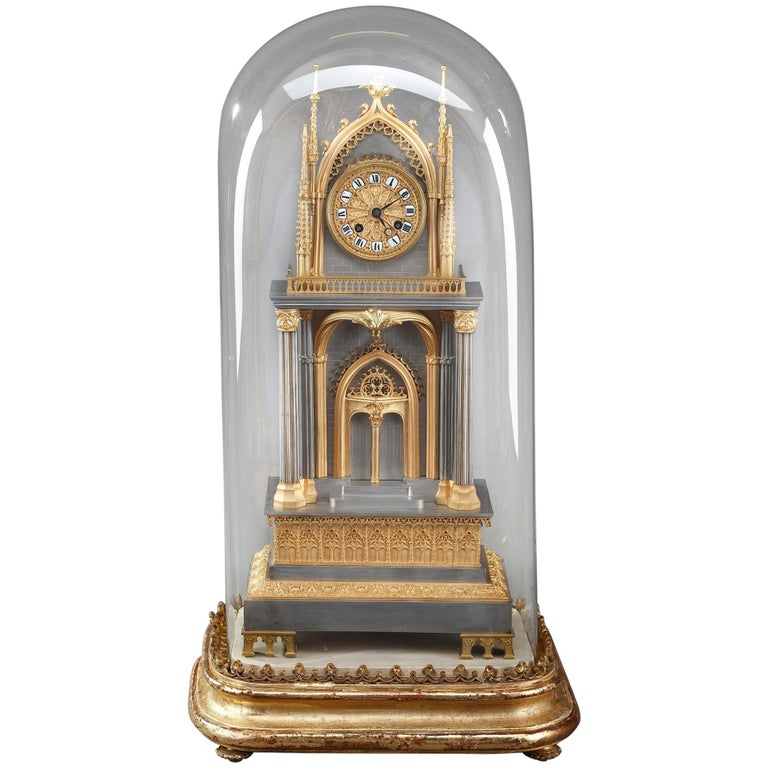 French Restauration Gilt and Silvered Bronze Neo-Gothic Cathedral Clock For Sale