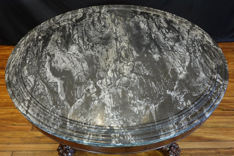 French Restauration Mahogany Center Table with Variegated Marble Top For Sale 5