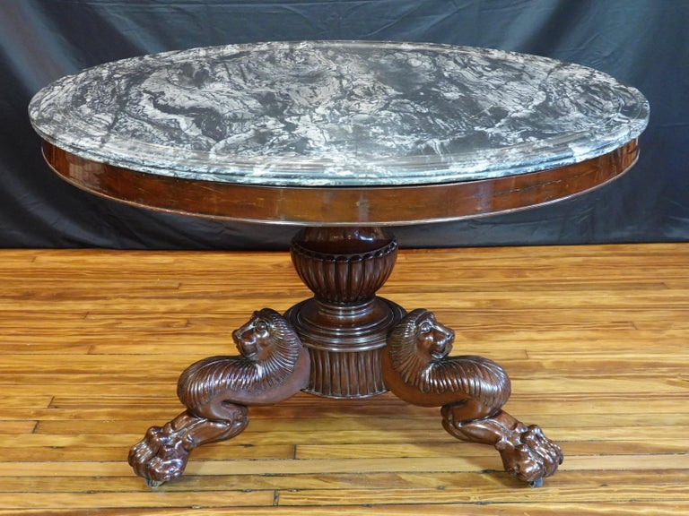 Carved French Restauration Mahogany Center Table with Variegated Marble Top For Sale