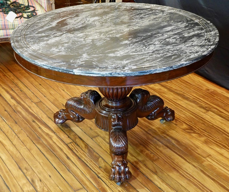 19th Century French Restauration Mahogany Center Table with Variegated Marble Top For Sale