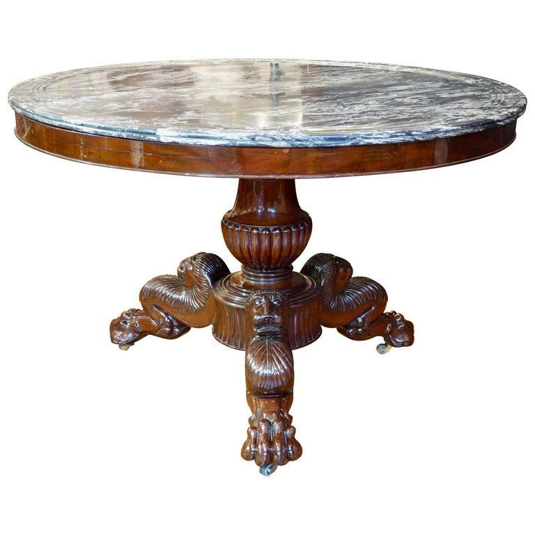 French Restauration Mahogany Center Table with Variegated Marble Top For Sale
