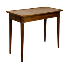 French Restauration Period 1820s Side Table with Leather Top and Lateral Drawer