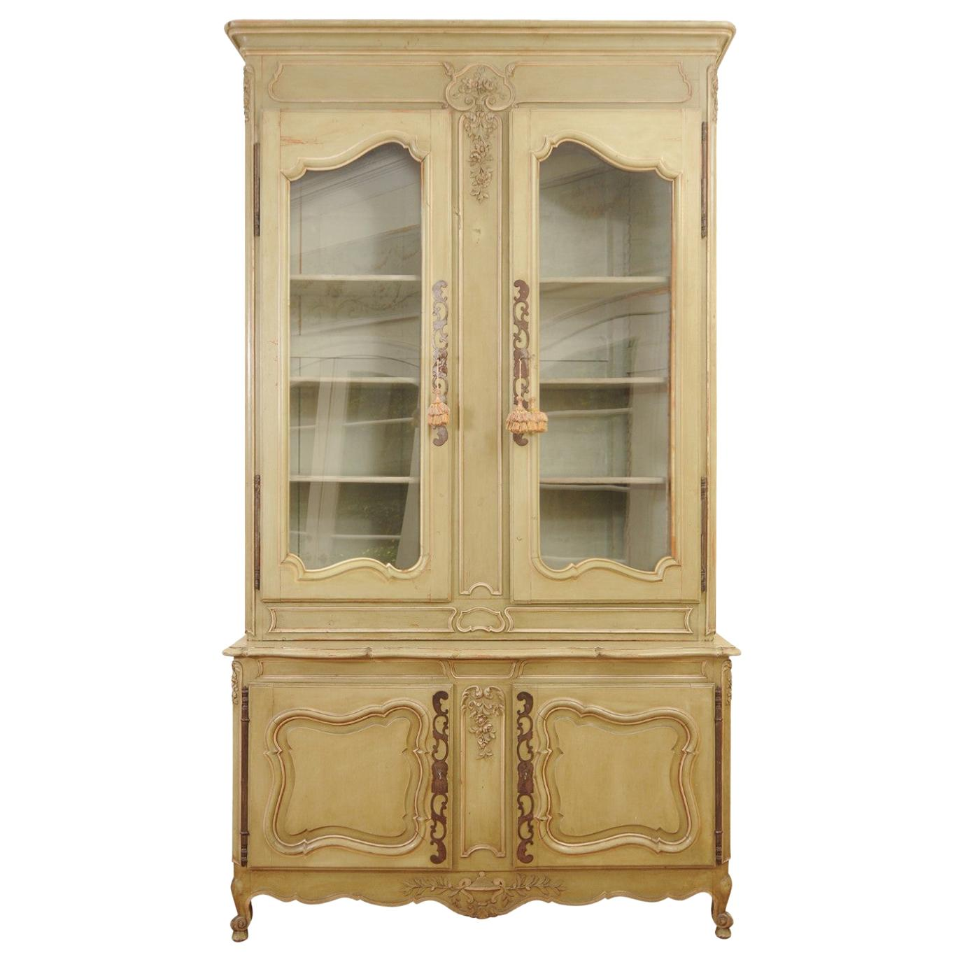 French Restauration Period 1830s Painted Buffet à Deux-Corps with Glass Doors