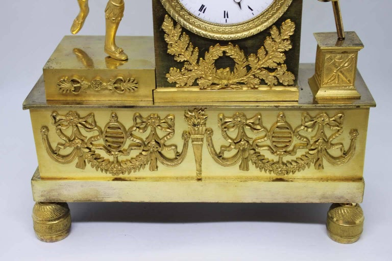 French Restauration Period Gilt Bronze Clock For Sale 7