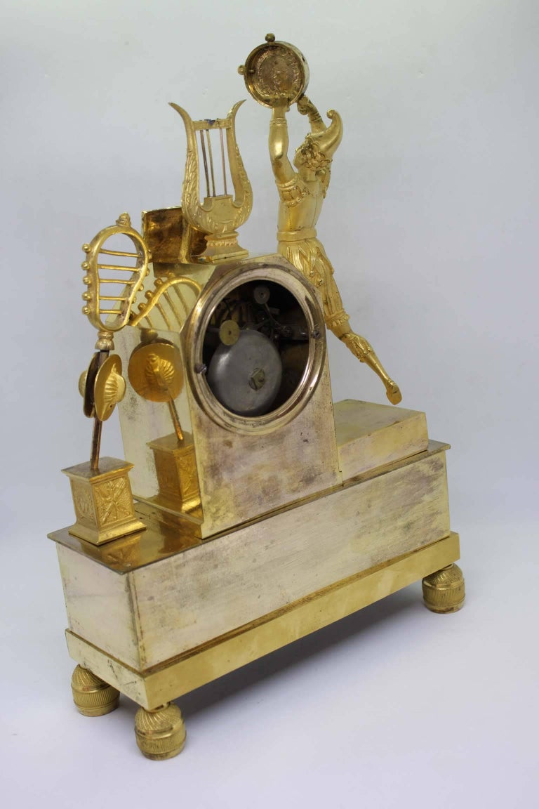 French Restauration Period Gilt Bronze Clock For Sale 1