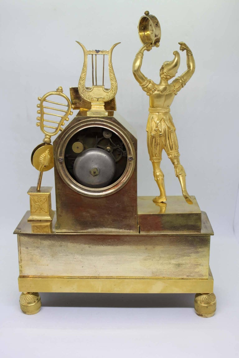 French Restauration Period Gilt Bronze Clock For Sale 2