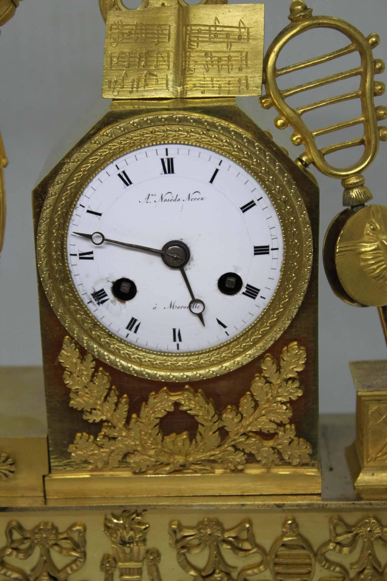 French Restauration Period Gilt Bronze Clock For Sale 3