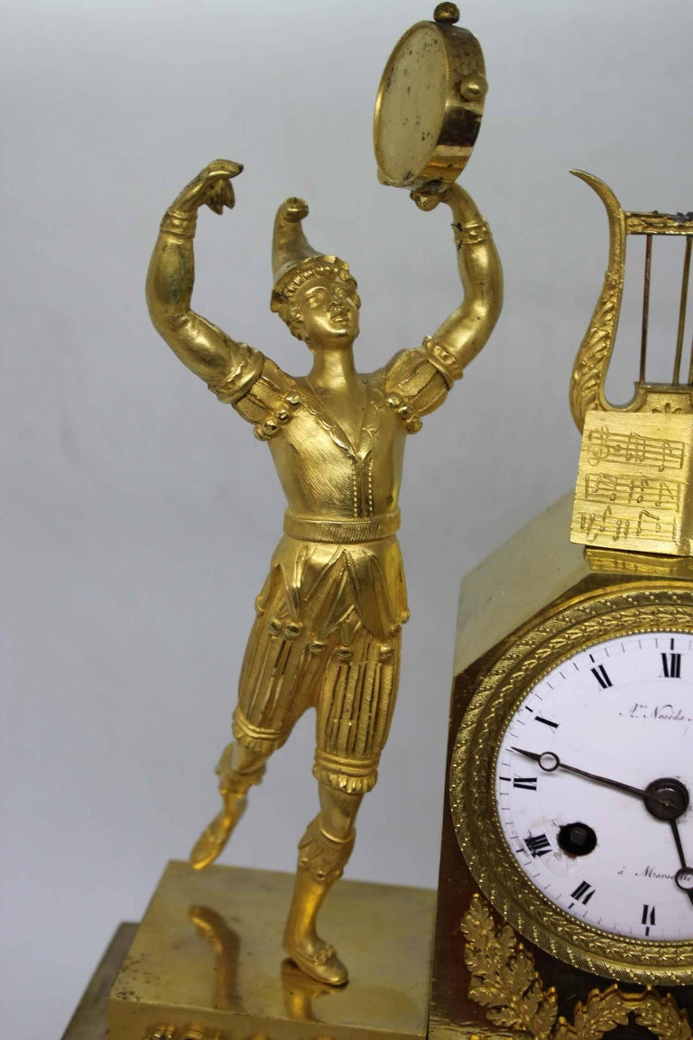 French Restauration Period Gilt Bronze Clock For Sale 4
