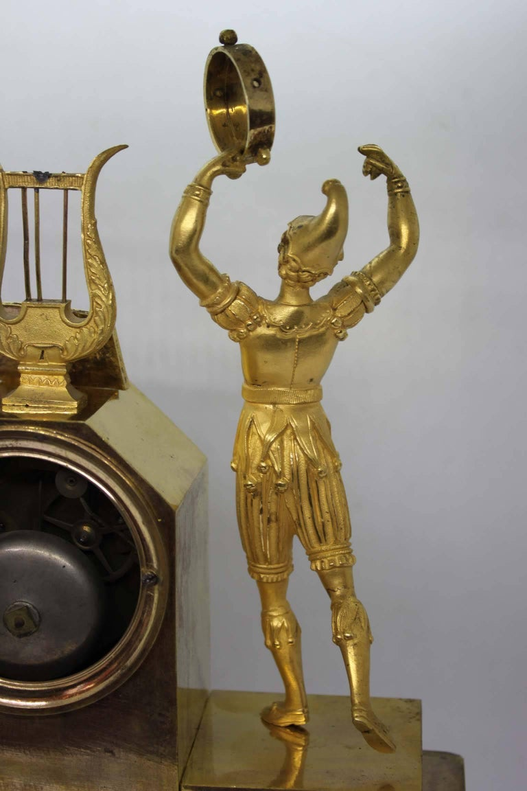 French Restauration Period Gilt Bronze Clock For Sale 5