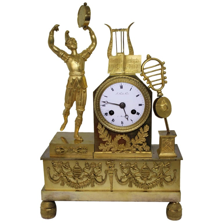 French Restauration Period Gilt Bronze Clock For Sale