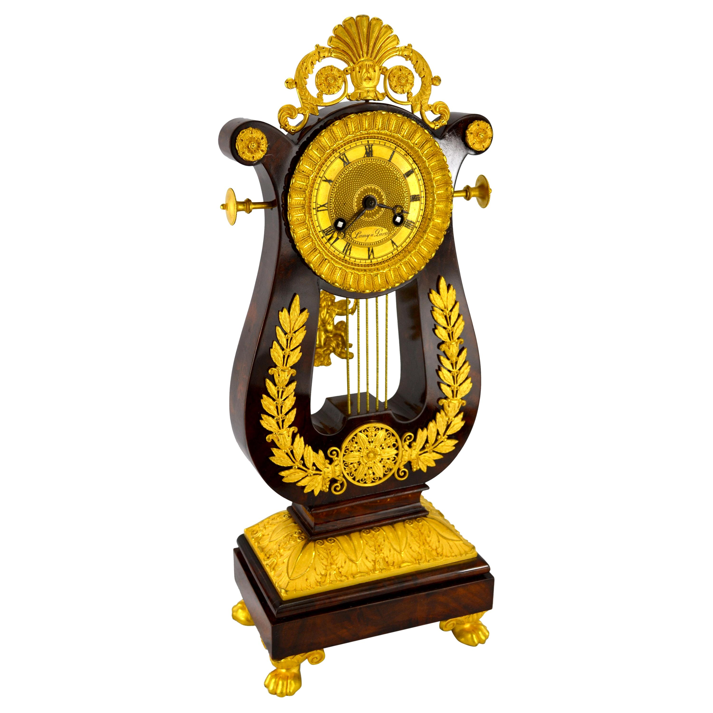 French Restauration Period Mahogany and Gilt Bronze Lyre Clock
