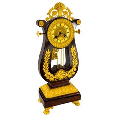 French Restauration Period Mahogany and Gilt Bronze Lyre Clock