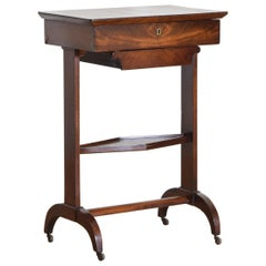French Restauration Period Mahogany Hinged Top Vanity or Work Table, circa 1825
