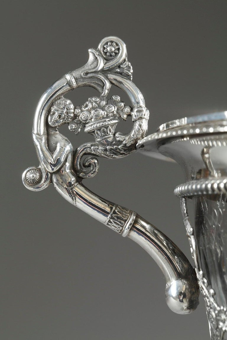 French Restauration Silver and Crystal Candy Dish For Sale 6
