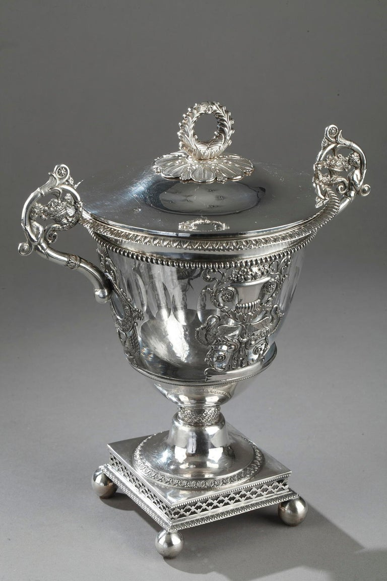 European French Restauration Silver and Crystal Candy Dish For Sale