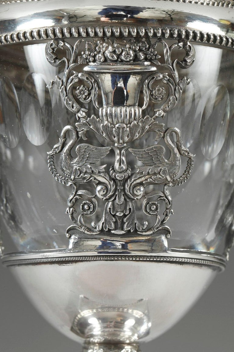 French Restauration Silver and Crystal Candy Dish In Good Condition For Sale In Paris, FR