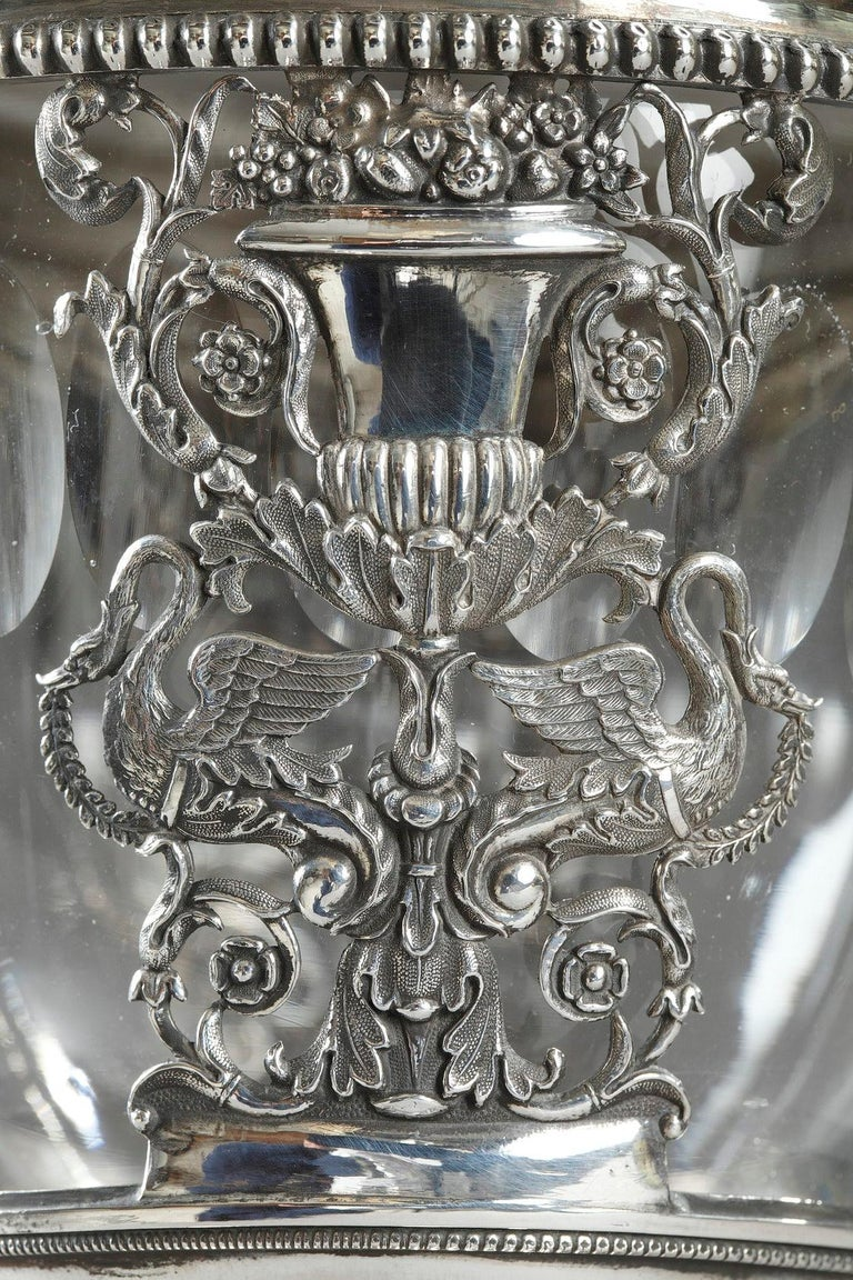 Early 19th Century French Restauration Silver and Crystal Candy Dish For Sale