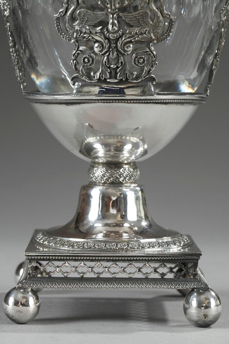 French Restauration Silver and Crystal Candy Dish For Sale 1