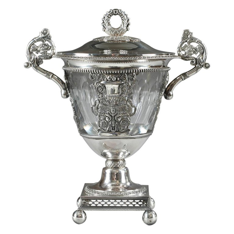 French Restauration Silver and Crystal Candy Dish For Sale