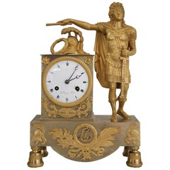 French Restoration Gilt Bronze Clock Louis XIV as Emperor