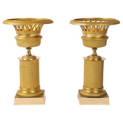 French Restoration Period Pair of Gilt-Bronze Cups, circa 1815-1830