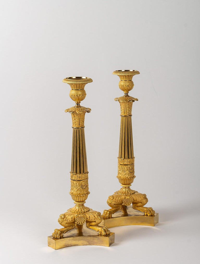 French Restoration Period, Pair of Large Bronze Candlesticks, circa 1815-1830 For Sale 8